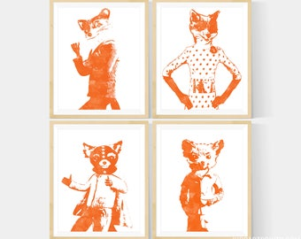Fantastic Mr Fox Print - Mr Fox, Felicity Fox, Ash & Kristofferson Prints in Your Choice of Size, Fox Nursery, Book Nursery, Set of 4 Prints