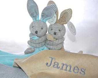 Personalised Bunny Baby Comforter / Blanket / Soother Blanket / Baby Gift / Baby Shower Gift / New Baby Gift