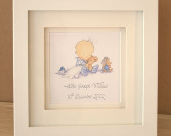 White Framed  Personalised New Baby Boy Print