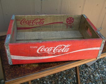 Vintage Coca-Cola Crate Wooden Beverage Crate Red and White 70s #3-70 Coke Advertising Crate Retro Storage Wood Storage Box