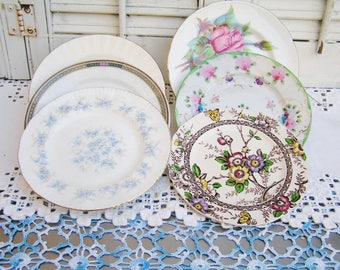 6 Vintage Mismatched China Dessert Plates Mismatched Plates Tea Party Floral Plates Cottage Chic Side Plates Bridal Shower Baby Shower