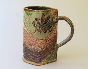 Praying Mantis Pottery Mug Coffee Cup Handmade Stoneware Functional Tableware Microwave and Dishwasher Safe 16 oz