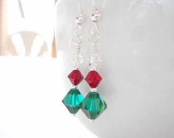 Christmas Earrings, Swarovski Crystal Earrings, Sterling Silver Jewelry, Holiday Jewelry Gift for Her - Red, Green & Clear Dangle Earrings
