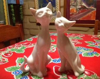Vintage Otagiri white glazed Siamese cat couple figurines- Japan