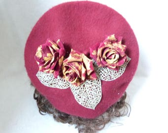 Beret Painted Roses