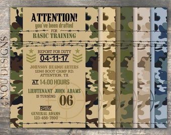 Army Camouflage Military Boot Camp Birthday Invitation Card- Printable File