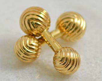 Vintage Retro 14K Yellow Solid Gold Bar Bell Cuff Links