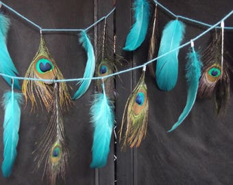 Garland 2 meters No. 1 and 2, hand made, dyed goose feathers and Peacock feather