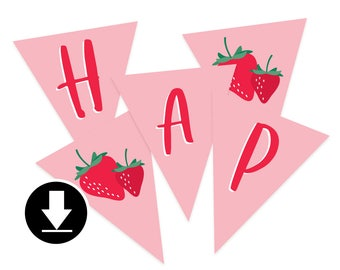 Instant Download - Happy Birthday Banner - Berry Sweet Birthday