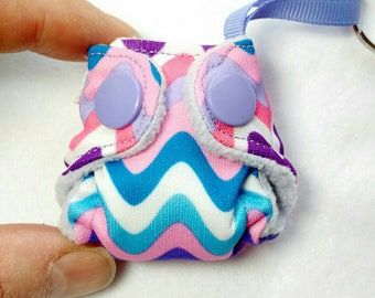 Pocket Cloth Diaper Keychain diaper,  Pocket Diaper with insert! Wavy Chevron print key chain diaper ornament, baby diaper