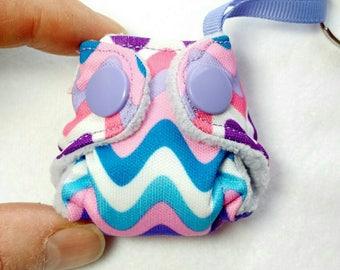 Pocket Cloth Diaper Keychain diaper,  Pocket Diaper with insert! Wavy Chevron print key chain diaper ornament, baby diaper