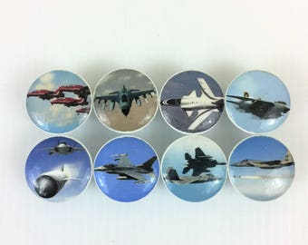 Set of 8 Fighter Plane  Cabinet Knobs