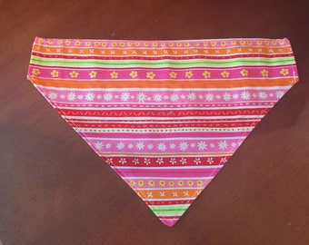 Spring, horizontal striped floral, over the collar dog bandana