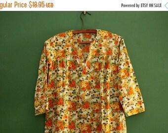 Vintage Floral Tunic Top/ Womens XS, Small [40 inch waist/Extra Long Tunic Long Sleeve/Soft Vintage Feel/Moomoo/Salwar Kameez]