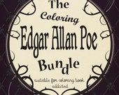 Coloring book  - Edgar Allan Poe - 5 coloring pages Instant download - Printable illustration