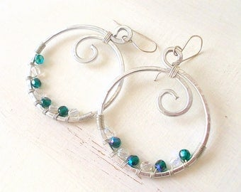 Wire hoop earrings and emerald glass beads