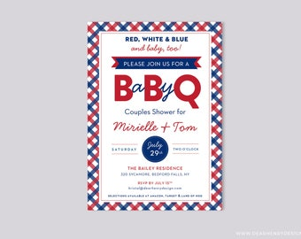4th of July Baby-Q invitation, Summer baby shower picnic party invite, Red White Blue Fourth of July gingham print  babycue, barbeque BBQ