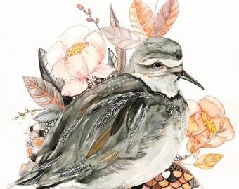 bird posy No1, water color print