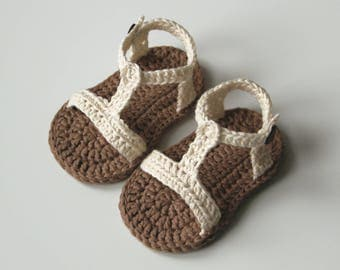 IVO Cream Brown Baby Sandals, Cotton Baby Shoes, Summer Baby Shoes, Size 0-3,3-6,6-9,9-12 months, Made to Order