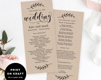 Wedding Program Editable Template - Printable Wedding Program - Instant Download - Rustic Elegance #REC