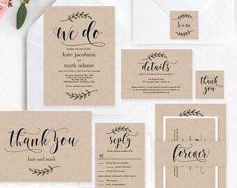 Rustic Elegance Wedding Suite Editable Template - Printable Wedding Invitation Set - Instant Download #REC