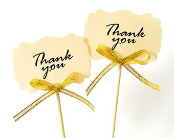 Set of 24Pcs - ' Thank You ' with Gold Glitter Bow Topper, Skewer, Stir stick, Food Picks, Weddings, Bridal/Baby Shower Party Picks