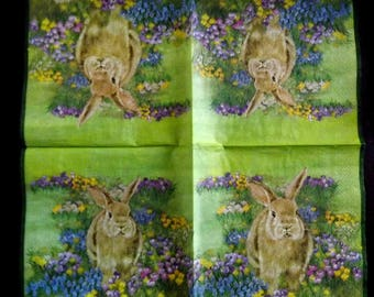 Napkin: the Hare in the wild flowers.