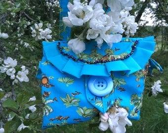 Handmade Shoulder bag, Girls shoulder bag, Girl summer bag, Canvas shoulder bag, A valence shoulder bag, Summer pouch, Blue shoulder bag