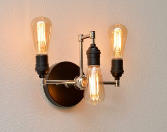 Matte Black and Polished Nickel Wall Sconce