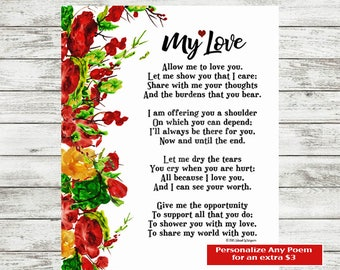 Love Poetry, Boyfriend Poem, Valentine Gift, Valentine Poem, Poem Printable, Love Print, Girlfriend Poem, I Love You Poem, Girlfriend Poem