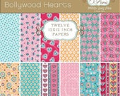 30% off SALE Floral heart print bright Bollywood style papers, digital scrapbook paper, royalty free, commercial use. Instant download.