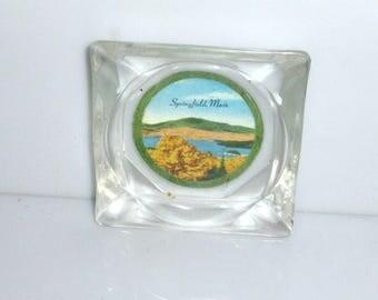 "111917sp1 - 3 1/4"" Vintage ASHTRAY Clear GLASS Ashtray Souviner SPRINGFIELD Massachusetts Tobacciana Bar Ashtray Collection"
