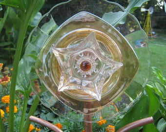 Glass Flower on stem with leaves, garden, yard art