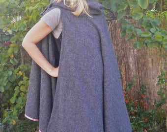 """Long wool cloak in """"Wolf are you?"""""""