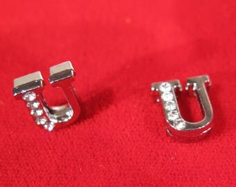 """10pc """"letter U"""" 8mm slide charms in antique style silver (BC1375-U)"""