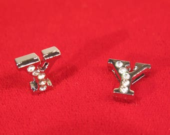 """BULK! 30pc """"letter Y"""" 8mm slide charms in antique style silver (BC1375-Y)"""