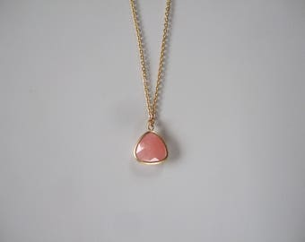 Pink and gold plated 16 K Aventurine necklace