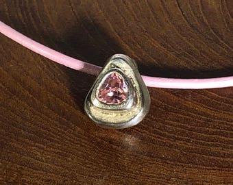 Pink Zircon Triangle Pendant