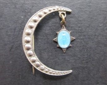Vintage Silver Tone and Blue Crescent & Star Mary Brooch Pin