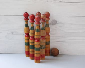 Vintage Set of 6 French Wooden Skittles with Wood  Ball, Vintage Wood Bowling Pin Set, Vintage Wood Toy