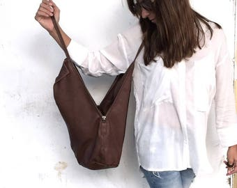 Chocolate Brown Leather Tote Bag- Soft Leather Bag - Every Day Bag - Office Bag - Shoulder Bag - Lined Bag - Women Purse - Charley bag