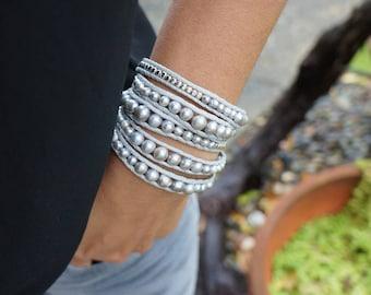 Silver freshwater Pearl Wrap Bracelet