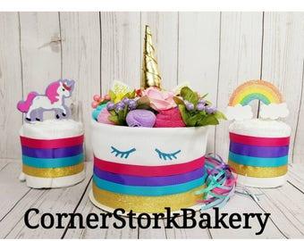 Unicorn Diaper Cake  Unicorn Baby Gift  Unicorn Baby Shower  Girl's Diaper Cake  Girl's Baby Gift  Baby Gift  Centerpiece  Baby Shower Cake