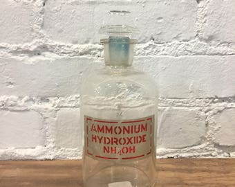 Antique Pyrex Ammonium Hydroxide Bottle