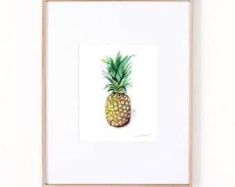 Pineapple Art Print by Michelle Mospens, Pineapple Wall Art, Pineapple Print, Pineapple Painting, Fruit Wall Art Poster