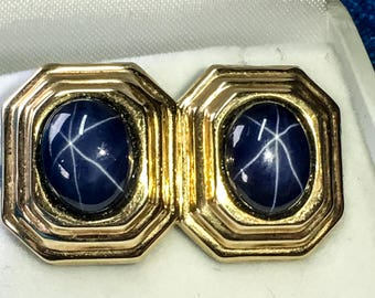 14k Yellow Gold Genuine Blue Star Sapphire Earrings