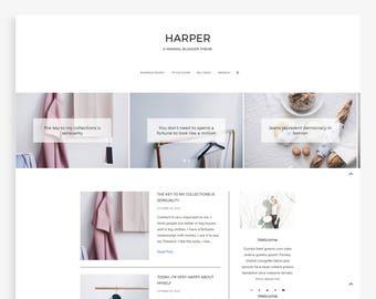 Fashion blog etsy harper minimalist blogger template fashion blog theme pronofoot35fo Gallery
