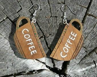 Coffee Mug Earrings, Wooden Earrings, Wood Earrings, Wooden Jewelry, Wood Jewelry, Handmade Earrings, Handpainted Earrings, Coffee Art