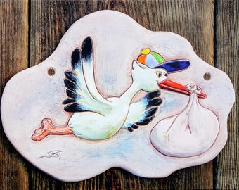 Name tag for birth, stork, canvas print