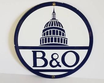 Free Shipping!! B&O Railroad Porcelain Sign